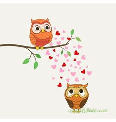 owls in love cartoon vector image