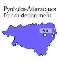 Pyrenees-atlantiques french department map vector