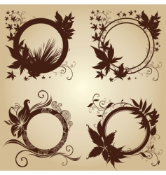 set of black frames with autumn leafs vector image vector image
