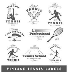 Set of vintage tennis labels vector image