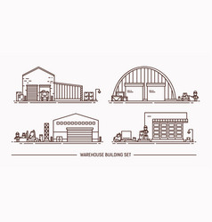 set of warehouse buildings of different shape with vector image vector image