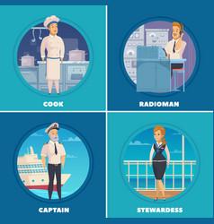 Ship crew 4 icons square vector