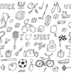 Sketch style sport seamless pattern vector image
