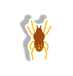 Stylish icon in paper sticker style spider insect vector