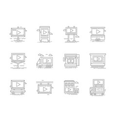 video advertising flat line icons set vector image vector image