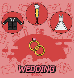 Wedding flat concept icons vector