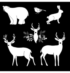 White chalk animals cute polar bear and reindeer vector
