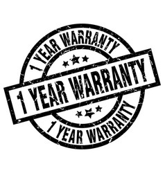 1 year warranty round grunge black stamp vector image vector image