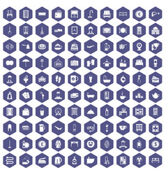 100 inn icons hexagon purple vector