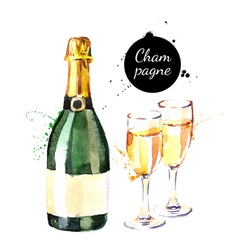 Watercolor champagne bottle and glasses icon vector