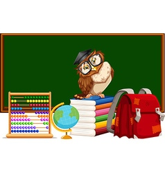 Blackboard and many educational materials vector
