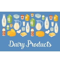 Dairy banner with natural food icons vector