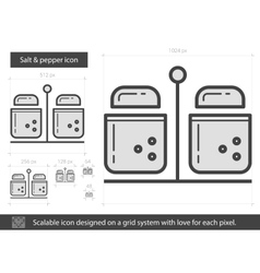 Salt and pepper line icon vector