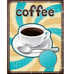 Poster with a coffee cup in retro style vector image