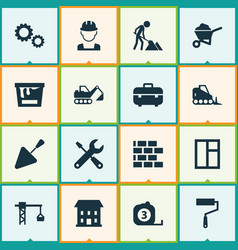 building icons set collection of home equipment vector image