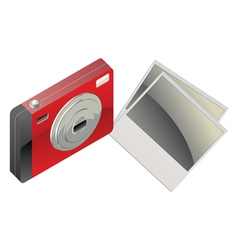 Red digital camera and photo cards2 vector