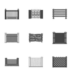 A fence of metal and brickswooden palisade and vector