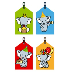 label with elephants having a party vector image