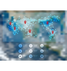 World map connection with blurred earth globe vector image
