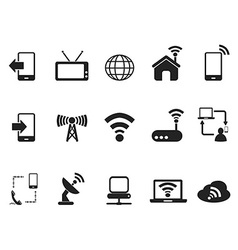 Black telecom icons set vector
