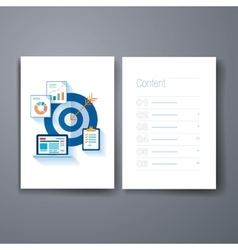 Modern marketing and sales target flat icon cards vector