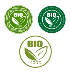 Bio labels with green leaves vector