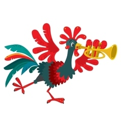Funny rooster plays the trumpet vector