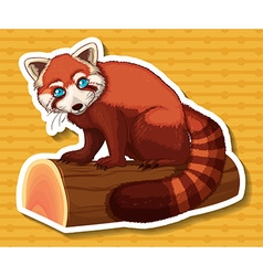 Sticker of brown raccoon on log vector