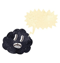 Cartoon spooky cloud with speech bubble vector