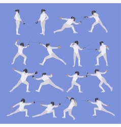 Set of sport fencing athletes isolated vector