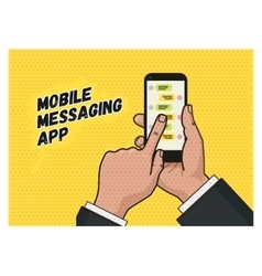 Writing a message on mobile app pop art vector