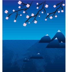 Lake landscape with sakura in japan vector image