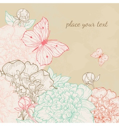 Hand drawn with peony and butterfly in vintage sty vector