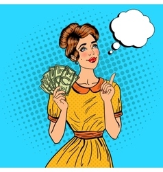 Young beautiful woman with money pop art vector