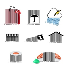 Barcode set icons vector