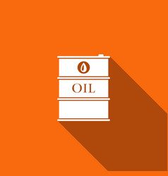 barrel oil flat icon with long shadow vector image