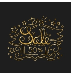 Big Sale Golden Lettering Design Black Friday vector image