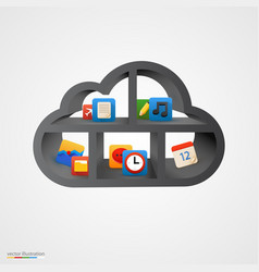 black cloud shelf with icons vector image vector image