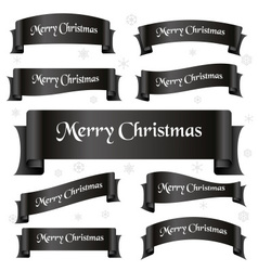 black shiny color merry christmas slogan curved vector image vector image