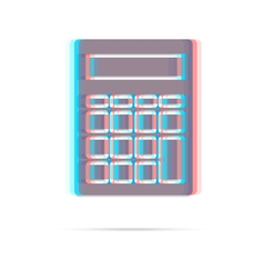 Calculator anagliph icon with shadow vector