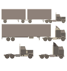 Cargo trucks with trailers fast service delivery vector