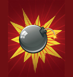 cartoon black bomb vector image