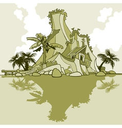 cartoon island mountain and palm trees vector image