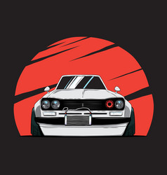 Cartoon japan tuned old car on red sun background vector