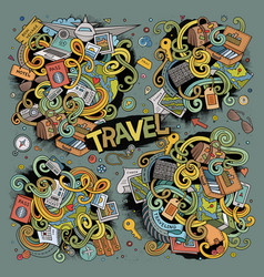 Doodle cartoon set of travel theme items vector
