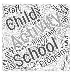Effective after school activities word cloud vector