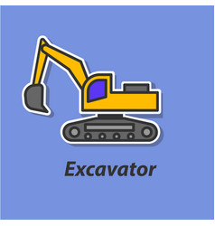 Excavator color flat icon vector