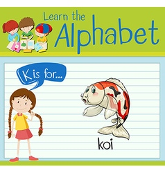 Flashcard alphabet K is for koi vector image vector image