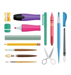 Flat stationery and drawing tools pen set vector image vector image
