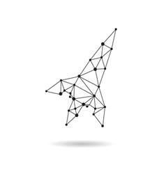 Geometric spaceship design silhouette vector
